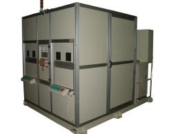 机器人焊接工作站 : (外管与车轴板)(外管与左侧固定块)(外管与右侧固定块)补强焊接